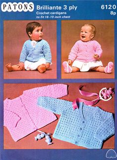 PDF Vintage Pretty Baby Cardigans Crochet Pattern 1960s Patons