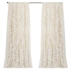 Bring a touch of feminine charm to your master suite or living room with this lovely handcrafted curtain, showcasing tiered ruffles in a warm ivory hue....