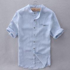 1f0d9d5da717f8 2017 Pure Linen Shirts Men Short Sleeve Solid White Men Shirt Brandliligla