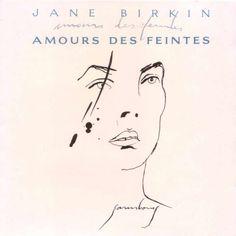 1990 Jane Birkin - Amours Des Feintes [Philips] drawing: Serge Gainsbourg #albumcover #portrait