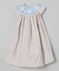 Love this Brown Sand Dollar Smocked Yoke Dress - Infant, Toddler & Girls by Molly Pop Inc. on #zulily! #zulilyfinds