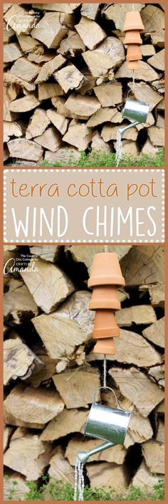 These Terra Cotta Pot Wind Chimes are an easy adult craft idea. Add various sizes of pots, wood beads, and twine to make music in your garden in minutes! Easy Adult Craft, Adult Crafts, Rustic Crafts, Decor Crafts, Diy Arts And Crafts, Fun Crafts, Simple Crafts, Green Craft, Edible Crafts