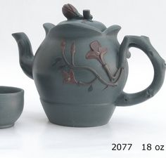 Flowered Teapot and matching tea cups in light grey