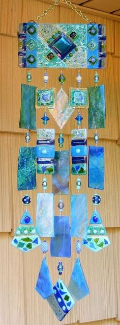 Kirks Glass Art Fused Stained Glass Wind Chime windchimes - The Blues by triziam