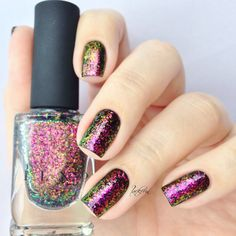 ILNP - Electric Carnival ( via Hypnotic Polish ) *   essie - licorice   trend it up - ultra quick dry topcoat        Diese Chrome Flaki...