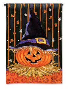 "Jack-O-Lantern in Witch's Hat, Candy Corn 12.5""x18"" Halloween Garden Flag   #BreezeArt"