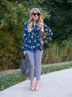 Fall Floral Work Outfit + Linkup #116 • The Mix | Floral Blouse  |  Banana Republic Sloan Pants  |  Chloe Marcie Bag  |  Nude Pumps  |  Karen Walker Number One Sunglasses