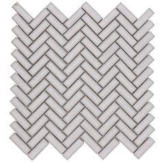 Elida Ceramica Chelsea White Herringbone Mosaic Ceramic Wall Tile (Common: 12-in x 12-in; Actual: 11-in x 11-in)