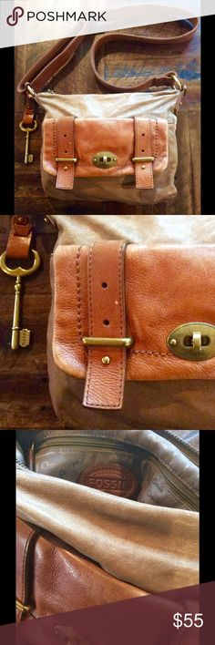 "Fossil Cross body Bag Saddle Large Key Boho Brown leather purse by Fossil. Extra Large key. Slight damage on bottom pic#4. Amazing bag with a buttery soft feel. Super roomy. Approx size 10 X 11.5 Strap is adjustable 11 to 23"" long. Fossil Bags Crossbody Bags"
