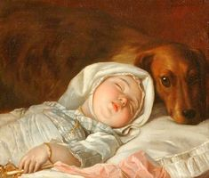 Sleeping Child Guarded By A Dog