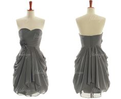 gray bridesmaid dress short bridesmaid dress chiffon by fitdesign, $87.00