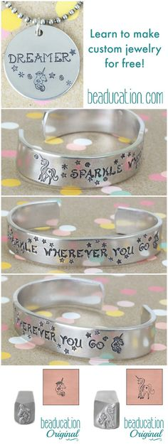 Metal stamping is the perfect way DIY to personalize jewelry, gifts and more! Learn for free today at www.Beaducation.com/learn - we have 100's of free classes to teach you this quick, easy and fun way to make your own jewelry and gifts. This metal stamped unicorn necklace and bracelet cuff are just two examples of the possibilities - the options are endless! Try it today!