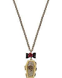 Betsey Johnson Hematite-tone Red Pave/' Mini Lips Lip Pendant Necklace $38
