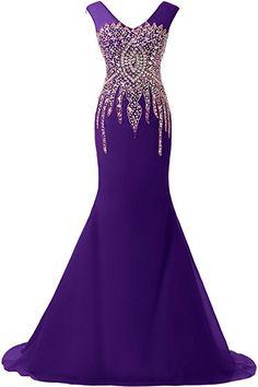 Sunvary Luxurious Rhinestone Mermaid Wedding Reception Prom Dresses 2016 Pageant at Amazon Women's Clothing store: