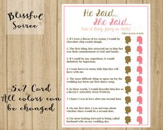 Personalized bridal shower game wedding shower game he said she said