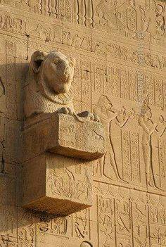 Lion headed gargoyle at Dendra  south wall  of Temple