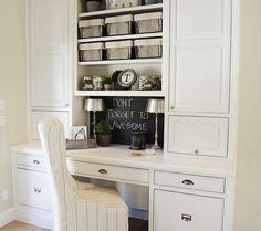 FOUND - Lovely office with white built-in cabinets, desk, chalkboard backsplash, vintage ...