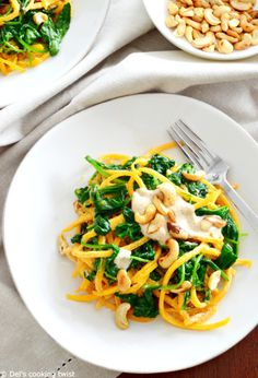Butternut Squash Noodles with Cashew Sauce minus the maple syrup for #whole30