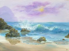 Ocean wave painting 18x24 large Beach Acrylic by TheEscapeArtist, $115.00