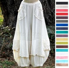 OH MY GAUZE Cotton Lagenlook  GUCHI  Pants Harem Layered M/L/XL/1X 2015 COLORS #OhMyGauze #ArtsyLayeredHaremPant