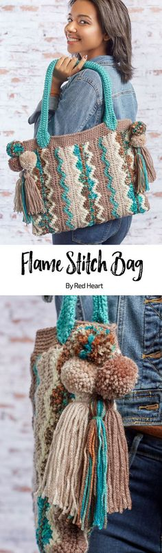 Flame Stitch Bag free crochet pattern in Super Saver yarn.