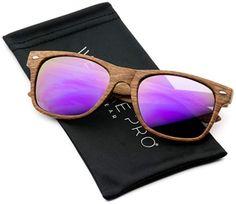 6b391e9395f Faux Wood Print Reflective Revo Color Lens Horn Rimmed Sunglasses Wooden  Sunglasses