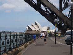 Sydney Opera House from under the Harbour Bridge.