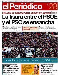Los Titulares y Portadas de Noticias Destacadas Españolas del 28 de Febrero de 2013 del Diario El Periódico ¿Que le parecio esta Portada de este Diario Español?