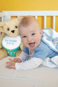 First teddy, forever friend! #NewBaby #BabyGift #TeddyBear #VermontTeddyBear Vermont Teddy Bears, We Bear, Unique Baby Gifts, Teddybear, Friends Forever, Baby Love, New Baby Products, Fondant Teddy Bear, Teddy Bears