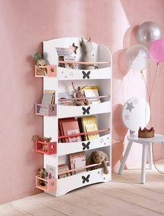 Bücherregal mit Schmetterlingen WEIß