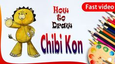 How to Draw Chibi Kon from Bleach || Drawing for kids || fast video