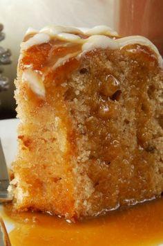 Apple Harvest Pound Cake with Caramel Glaze!