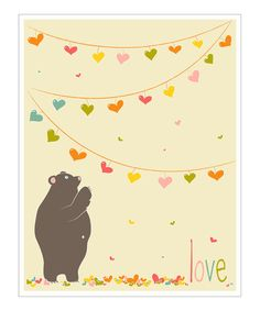 Take a look at this Cream & Pink 'Love' Bear Giclée Print by Finny and Zook on #zulily today!