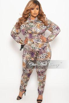 4da07977b2f Final Sale Plus Size 2-Piece Top and Pants Set with Purple Snake Skin