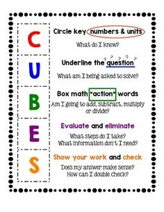 Timeouts and tootsie rolls test prep is underway math teaching cubes is a strategy for solving math word problems you can use it as an anchor chart or put it into a math journal for ccuart Gallery