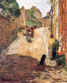 The Athenaeum - Village Street Scene, France (Frederick Childe Hassam - )