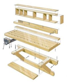 DIY Wall Hung Workbench Plans | Woodworking Session