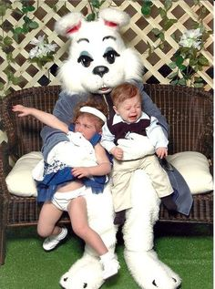As God as my witness, I will NEVER do this to my children.  Even if they aren't scared, there is nothing that is okay about a man-sized rabbit.