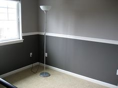 Exactly how i want my two tone walls and chair rail to look.