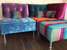 Fabulous combination of velvet textures & colours from Wemyss, J Brown and Designers Guild on these Tapas modules.