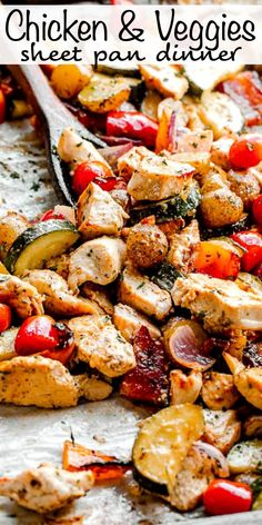 This hearty Chicken and Vegetables Sheet Pan Dinner is covered in a savory red wine vinegar marinade, and it's the tastiest healthy weeknight dinner recipe you'll find! #sheetpandinner #chickendinnerrecipe #healthychickendinner Best Chicken Recipes, Turkey Recipes, Healthy Weeknight Dinners, Easy Meals, Healthy Chicken Dinner, Easy Dinner Recipes, Easy Recipes, Healthy Recipes, Eat Smart