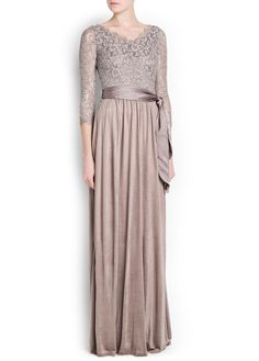 Lace top gown with scalloped edges v-neckline and three-quarter sleeves. Maxis, Hijab Fashion, Fashion Dresses, Dress Skirt, Lace Dress, Mango Clothing, Maxi Robes, Long Skirts, Maxi Skirts