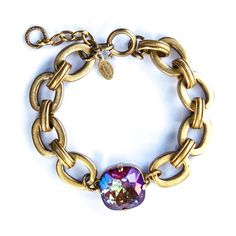 Catherine Popesco Jumbo Blue Ruby and Thick Chain Bracelet in Gold