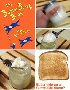After reading The Butter Battle Book by Dr. Seuss, shake up your own butter with a bit of science! Kids will have fun watching a liquid change into a tasty solid!