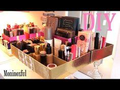 Como hacer un organizador de maquillaje con material reciclado y decoupage - YouTube