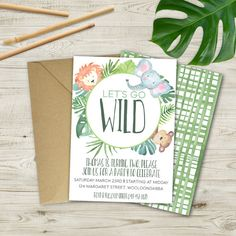 Children's Watercolour Jungle Invitation by PennyPaperieDesigns
