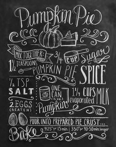 Pumpkin Pie Chalkboard Art Print