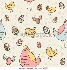 Easter eggs, hen and chicken cartoon hand drawn seamless texture