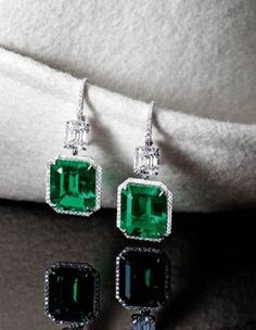 Pair of and Step-cut Colombian Emerald and Diamond Pendant Earrings Tiny Earrings, Emerald Earrings, Emerald Jewelry, Pendant Earrings, Chandelier Earrings, Gemstone Jewelry, Emerald Cut Diamonds, Diamond Cuts, Diamond Pendant