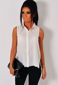 Marisol Off White Sleeveless Blouse Pink Boutique